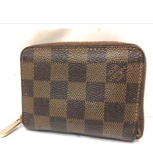 Auth Louis Vuitton Damier Small Zipper Wallet